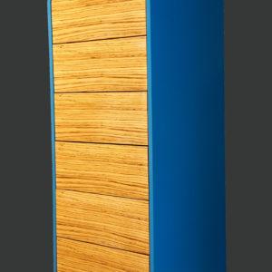 Highboard mit 6 Schubkasten-Fronten aus Funierholz-Lackierter Korpus in Blau