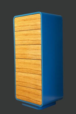 Highboard-Valon_6Schubkasten_Funierholz_Lackierter Korpus_Blau